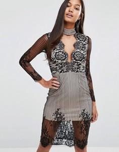 Кружевное платье миди с чокером и глубоким вырезом Love Triangle - Черный