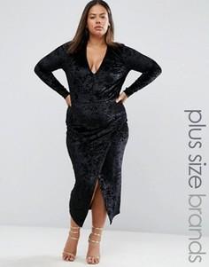 Бархатное платье с асимметричной кромкой Club L Plus - Черный