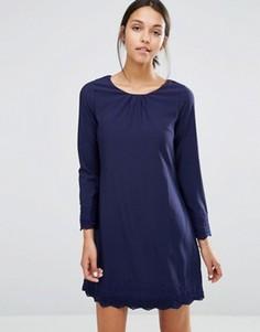 Цельнокройное платье с длинными рукавами и ажурной отделкой Uttam Boutique - Темно-синий