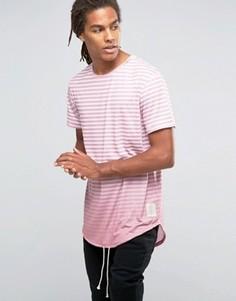 Удлиненная футболка в полоску Granted - Розовый