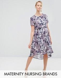 Платье миди 2 в 1 для беременных и кормящих мам Hope & Ivy Maternity - Фиолетовый
