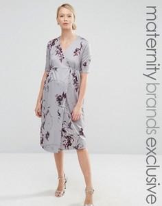 Платье миди для беременных с запахом и бантом спереди Hope & Ivy Maternity - Красный
