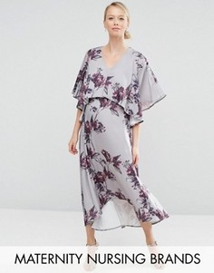 Платье миди 2 в 1 для беременных с асимметричным краем Hope & Ivy Maternity - Серый