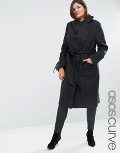 Пальто с воротником-трубой ASOS CURVE - Черный