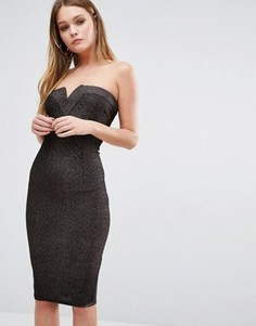 Платье бандо из ткани с блестками AX Paris - Медный