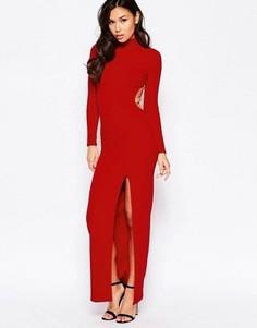Платье макси с высоким воротом Twin Sister - Красный