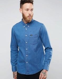 Синяя джинсовая рубашка на пуговицах Lee - Синий