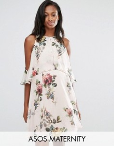 Платье мини с цветочным принтом и открытыми плечами ASOS Maternity - Мульти