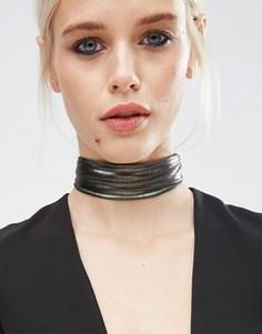 Широкое тканевое ожерелье‑чокер с эффектом металлик ASOS - Черный