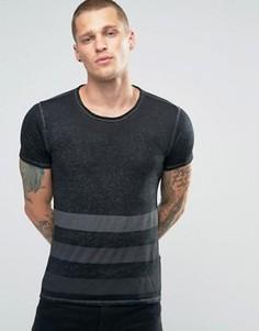 Черная футболка с полосками Replay - Черный