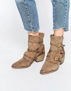 Серо-коричневые замшевые ботинки в стиле вестерн Free People Mason - Бежевый