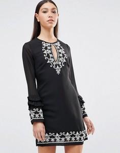 Платье с длинными рукавами Maya - Черный