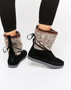 Черные замшевые ботинки с искусственным мехом TOMS - Черный