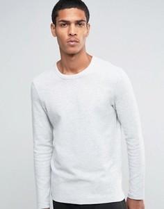 Свитшот в рубчик с круглым вырезом Selected Homme - Серый