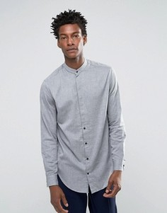 Рубашка с воротником на пуговице и асимметричным краем Selected Homme - Серый