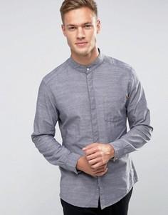 Удлиненная рубашка слим с воротником на пуговице Esprit - Синий