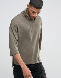Oversize-футболка с рукавами 3/4 и воротником-труба ASOS - Зеленый