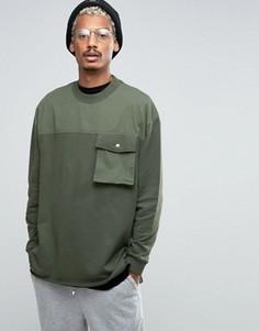 Длинный свитшот с тканой кокеткой, карманом и лентой ASOS - Зеленый