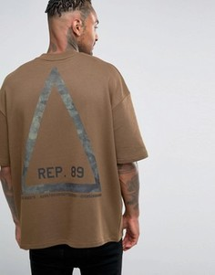 Oversize-свитшот с камуфляжным принтом треугольника ASOS - Коричневый
