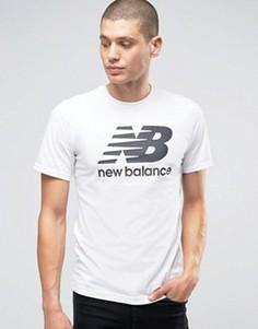 Белая футболка с классическим логотипом New Balance MT63554_WT - Белый