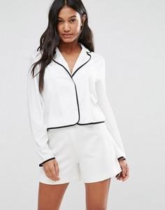 Рубашка в пижамном стиле с окантовкой Boohoo - Белый