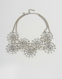 Ожерелье-воротник с паутиной Regal Rose Halloween Dolores - Серебряный