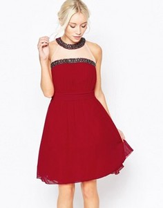 Короткое приталенное платье халтер с отделкой Little Mistress - Красный