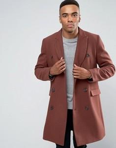 Двубортное пальто с добавлением шерсти рыжего цвета ASOS - Коричневый