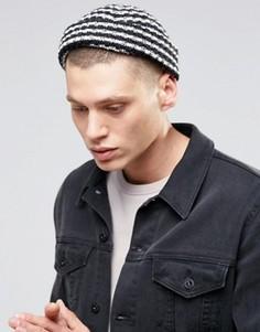Черно-белая шапка‑бини в полоску ASOS - Черный