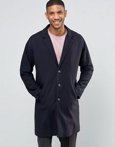 Темно-синее саржевое пальто ASOS - Темно-синий