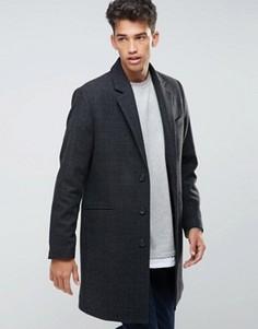 Темно-серое пальто в клетку с добавлением шерсти ASOS - Серый