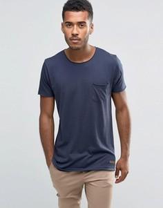 Однотонная футболка с необработанным краем Brave Soul - Темно-синий