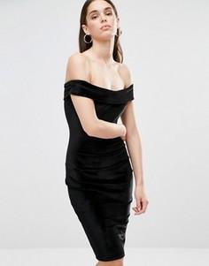 Бархатное платье миди с вырезом лодочкой Club L - Черный