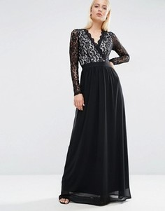 Платье макси с длинным рукавом и кружевом Club L - Черный