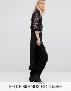 Рубашка макси с длинными рукавами и вышивкой Glamorous Petite - Черный
