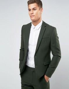 Пиджак хаки узкого кроя из 100% шерсти ASOS - Зеленый
