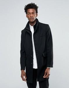 Черное шерстяное пальто с нейлоновой вставкой Bellfield - Черный