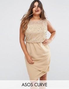 Платье миди с отделкой на лифе ASOS CURVE - Розовый