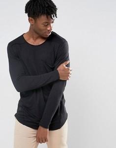 Удлиненный лонгслив с большим карманом Black Kaviar - Черный