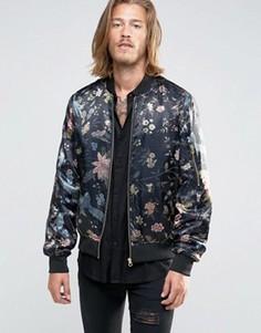 Куртка с цветочным принтом ASOS Souvenir - Черный