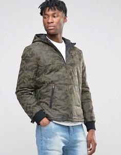 Куртка из искусственной кожи с камуфляжным принтом BL7CK - Зеленый
