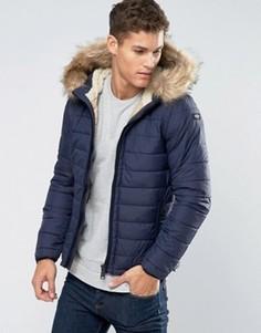 Стеганая куртка со съемной отделкой из искусственного меха Schott - Темно-синий