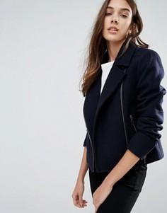Байкерская куртка из тяжелого сукна мельтон Jack Wills Eglingham - Темно-синий