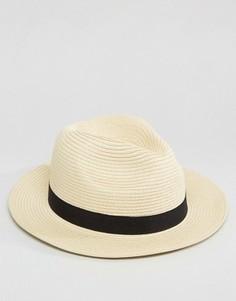 Мягкая соломенная шляпа бежевого цвета ASOS - Бежевый