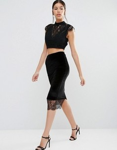 Бархатная юбка с кружевной накладкой Boohoo - Черный