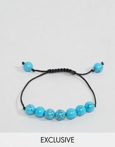 Браслет-веревочка с синими бусинами Reclaimed Vintage - Синий