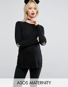 Джемпер для беременных с заплатками на локтях в виде паутины ASOS Maternity - Черный