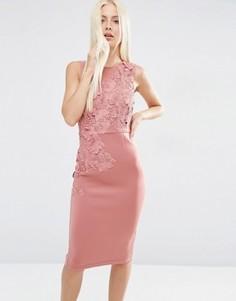Платье-футляр миди с цветочной отделкой ASOS - Розовый