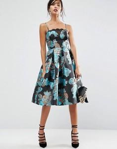 Жаккардовое платье миди для выпускного с цветами и эффектом металлик ASOS SALON - Мульти