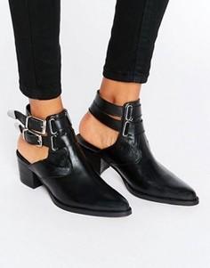 Кожаные ботинки в стиле вестерн ASOS RAMBLER - Черный